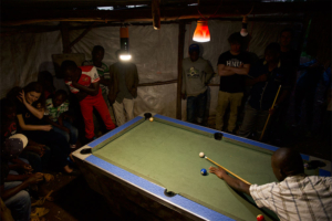 Pool table illuminated by mango products